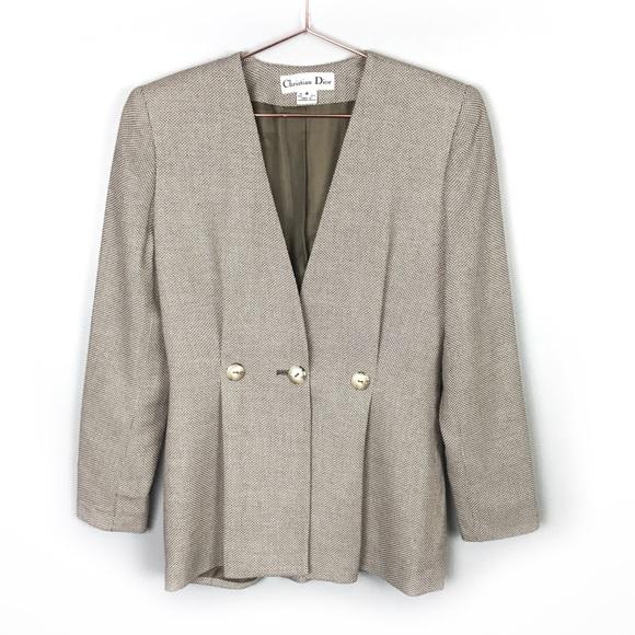 Christian Dior Vintage Pleated Jacket Cream 4